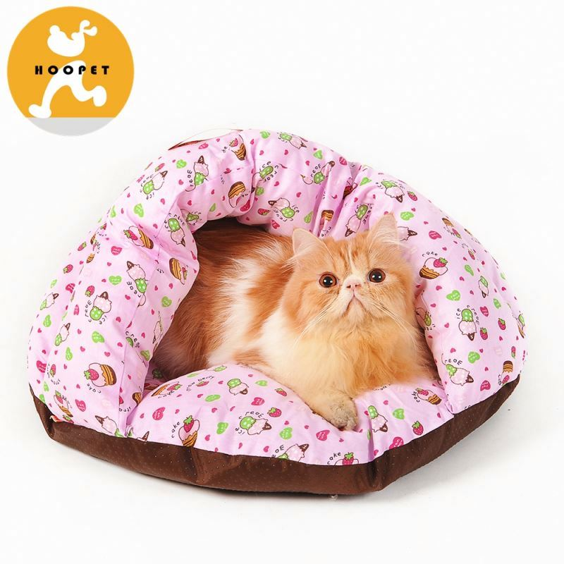 Cute pink soft pillow dog bed with small flowers