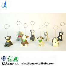 Novel cute cartoon animal shape name card paper clips stand resin craft for logo custom
