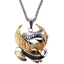 Biker MC Chopper Motorcycles Stainless Steel Pendant Live To Ride Eagle Necklace