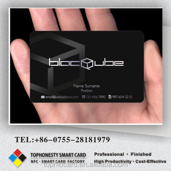 Hot stamping matte black pvc plastic business visiting card