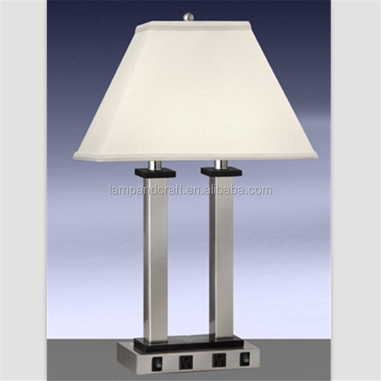 convenience outlet 4 metal balls base table lamp with brushed nickel