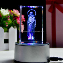 3D laser Blessed Virgin Mary crystal cube with LED base religious crystal gift