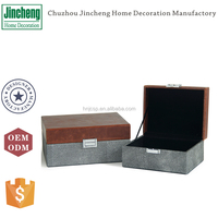 Intimated shagreen leather rectangle jewelry box organizer