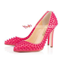 XX038 Rivet Studded Pointed Toe Stiletto Heel Ladies High Heel Shoes Pink 43#