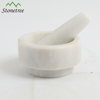 Custom White Marble Mortar and Pestle