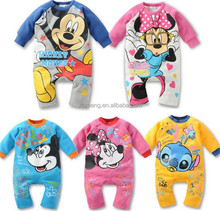 One piece suit infant romper lovely and soft unisex gender cartoon baby romper wholesale