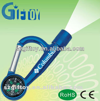 good qualtiy carabiner mini led torch with campass