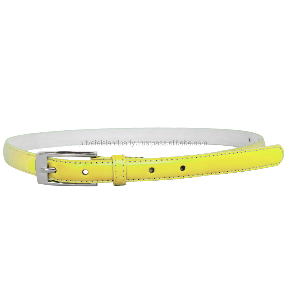 Yellow Skinny Belt with Rectangle Buckle