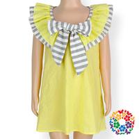 Lovely Girl Bow Frock Yellow Short Skirts Summer Kids Party Wear Dresses For Girls