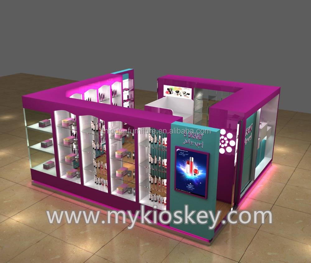 Beauty customized skin care display cabinet with cosmetic kiosk for sale