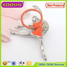 Amazing promotional gift metal gymnastics brooch with butterfly clutch #B5110
