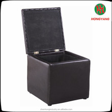 Square Black leather Storage Ottoman Storage Box Chair/folding storage stool