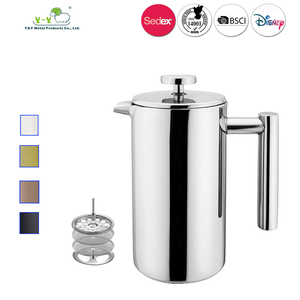 BSCI Factory 350ml 1000ml Double Wall French Press Stainless Steel Coffee Maker