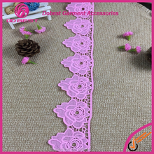 Beautiful pink color flower design garment decorative lace trim for blouse girl suits