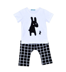 INS boys clothes set Bunny T Shirt + Short Plaid Pants Summer sets for boys kids 2pcs Outfits