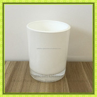 China white colored glass candle holder,new design decorative glass jar for candle