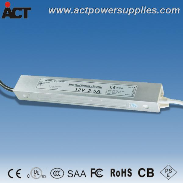 UL listed CE SAA 12V 2.5A 30W waterproof LED driver CV-12030C