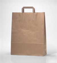 Customize Brown Kraft paper Insulated carried Bags with Flat Handle