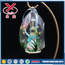 decorative clear open glass ball with easter bunny in it for easter hanging decoration