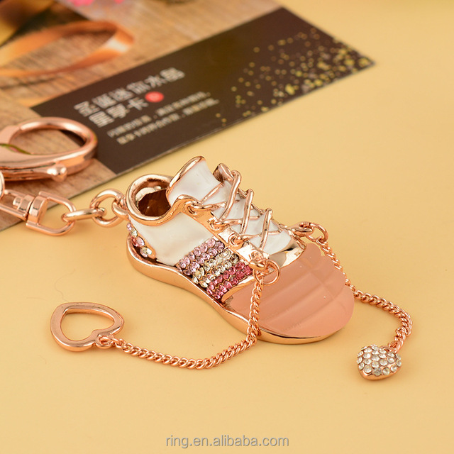 Activity Gift 3D Sports Girl Running Crystal Shoe Keychain