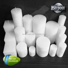 Various sizes white pillar paraffin wax candles