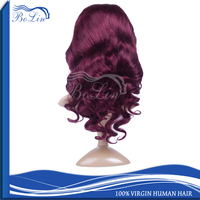 Fashion Style Colored Human Hair Wig Loose Curl Full Lace Wig High Quality 99J Front Lace Indian Women Hair Wig