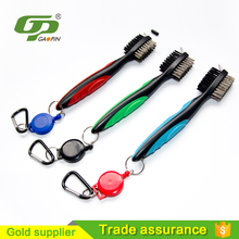 Hotselling Golf Golf Club Cleaning Brush ,Golf Club Groove Cleaner 2 Ft Retractable Zip-line Aluminum Carabiner