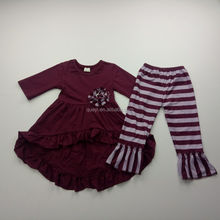 Hot Sale Plain Colour Outfits Popular Children Fall Winter Clothing Sets Baby Girls Outfits