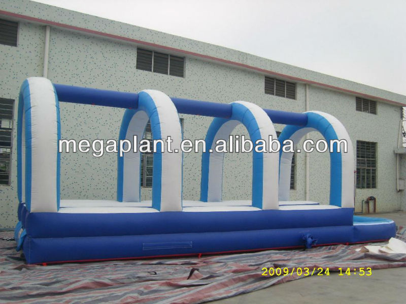 blue pvc inflatable long slip and slide