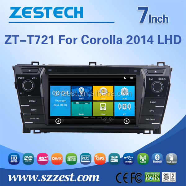 Radio Audio multimedia Bluetooth RDS 3G wifi V-10disc DVR AV-IN 1080P 2 din car dvd/car dvd gps for Toyota Corolla 2014 LHD