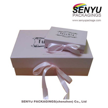 paperboard CMYK and Pantone printing tin box with silk ribbon and foil stamping gift box