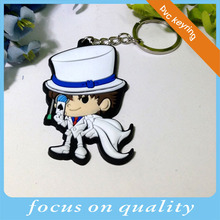 cool dude design custom molded plastic cartoon figure 3d rubber pvc keychain keyring