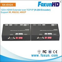 SX-EX24 cascade 1080p HD Video Audio H . 264 KVM HDMI extender Cat5e x1 with RS232 and IR and