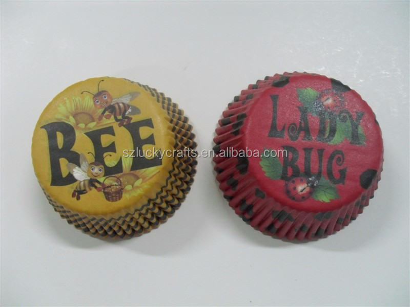 Stock cute ainmal print Red Bug,Gold Bee paper cupcake liner muffin baking cup mould cake case for kids birthday baby shower