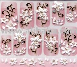 White lillies with gold and gems Nail Stickers