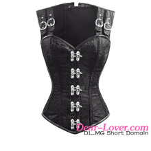 2016 NEW Ladies 12 Steel Bone Double Buckle Straps Lace Up bustier corset femmes mature
