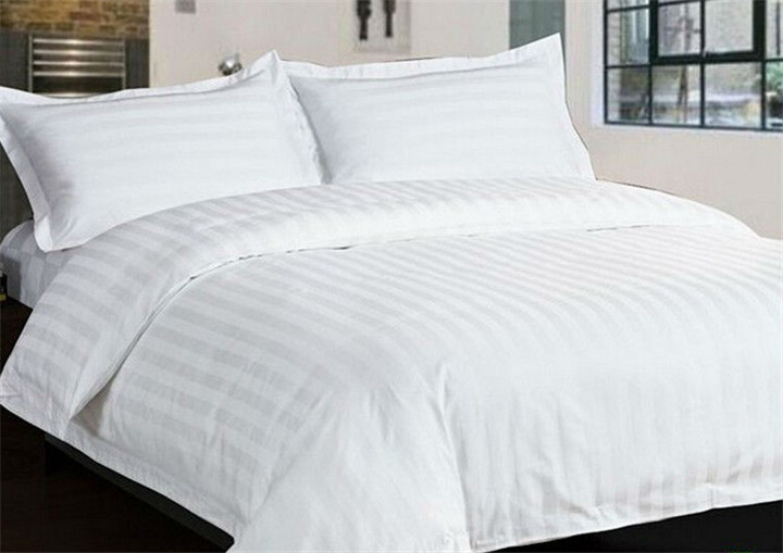 Wholesale 4pcs 100% Cotton Satin Stripe Plain White Hotel Bedding Set Duvet Cover Set Bed Linen Bed Sheet Set