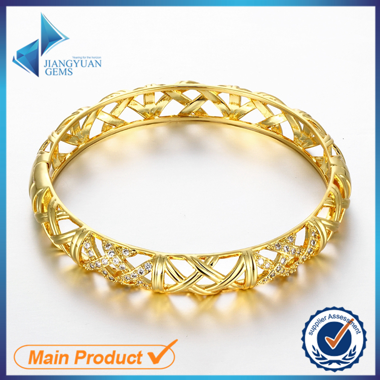 wholesale fashion fancy latest design daily wear 18k gold plated brass bangle
