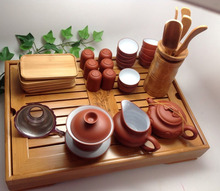 Yixing Tea Set Large Set With Bamboo Tea Tray
