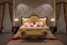 Gold Leaf Bed Hand Carved Furniture Bedroom Princess Style Bed