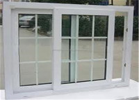 PVC kitchen glass sliding door with grill design
