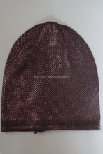 foil print knitted beanie knitted hat