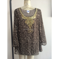 printed with stone deroction women blouse plus size