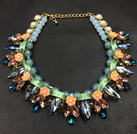 Handmade crystal ribbon necklace statement necklace N4595-1
