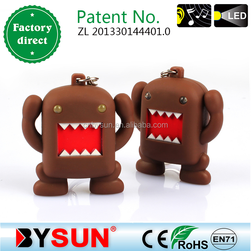 DOMO kun 3D shape keychain with sound and light