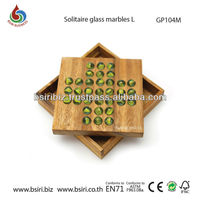 Wooden Solitaire Puzzle Game with Marbles Classic Traditional Solitaire Game