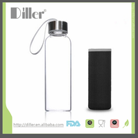 OEM Food Grade Glass Water Bottle With Silicone Sleeve