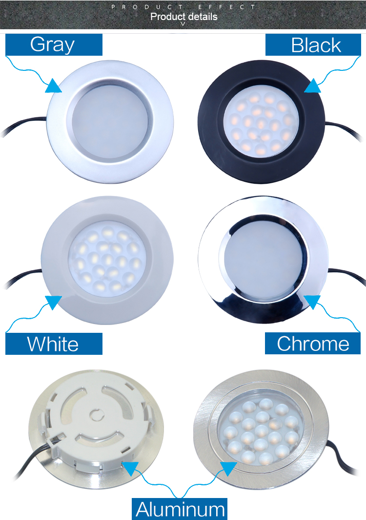 factory direct sale Artcilux brand round white finish recessed led cabinet light , EU AU USA standard , 100% Guarantee