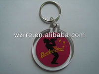 hot sale plastic round shape personalized keychain