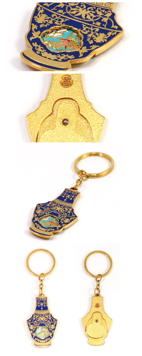 2 Piece Design Imitation Enamel Chinese Vase Keyring